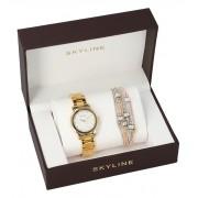 SKYLINE dámská dárková sada zlaté hodinky s náramkem 2950-6