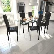 vidaXL 6 db bordázott szék étkező garnitúra fekete