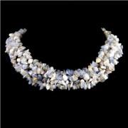 Kék csipkeachát splitter szemcse nyaklánc -széles