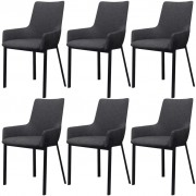 vidaXL Трапезни столове, 6 бр, тъмносиви, текстил