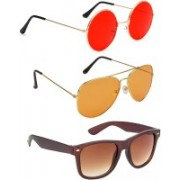 Elligator Round, Aviator, Wayfarer Sunglasses(Red, Orange, Brown)