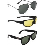 Zyaden Aviator, Wrap-around, Wayfarer Sunglasses(Black, Yellow, Black)