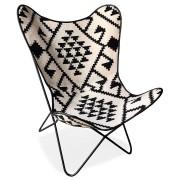 Vlinderstoel 'FOX' in witte katoen met zwarte motieven