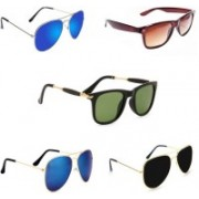 Sulit Wayfarer, Aviator Sunglasses(Green, Black, Blue, Blue, Brown)
