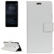Para Nokia 6 Litchi Texture Horizontal Flip Funda De Cuero Con Soporte Y Ranuras Para Tarjetas Y Billetera Y Photo Frame (blanco)