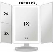 Nexus Makeupspiegel met LED verlichting - touch knop dimbaar - Drieluik 2+3 & 10x vergroting- Incl. USB -Oplaadbaar - spiegels