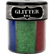 Merkloos Potje glitters met felle kleuren