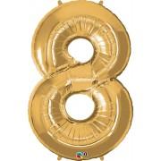 Number 8 Gold Super Shape Number Foil Balloon