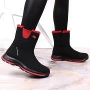 DK Czarne śniegowce wodoodporne DK Soft Shell - czarny / czerwony