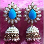 Aashiqui 2 earrings sky blue polki pearls jhumka earrings