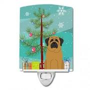 Caroline's Treasures Caroline 's Treasures Merry Christmas Tree Mastiff Luz Nocturna de cerámica, 6 x 4 cm, Multicolor