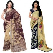 Anand Sarees Faux Georgette Brown_Blue And Multi Color Printed Combo Saree With Blouse Piece ( 1086_4_2942_1 )