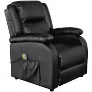 vidaXL Fotoliu electric de masaj și pentru TV din piele artificială, negru