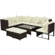 vidaXL Set mobilier de grădină, 29 piese, poliratan, maro