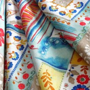 Meadow kék patchwork mintás lakástextil, dekorvászon