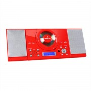 auna MC-120 Microanlage Vertikalanlage MP3-CD-Player USB AUX Wandmontage rot