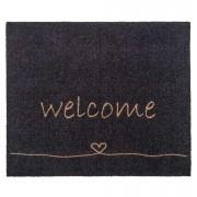 Mat Walk&Wash Welcome - antraciet - 67x80 cm - Leen Bakker