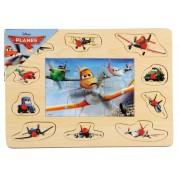 Puzzle mozaic de lemn cu pins BRIMAREX Planes 16 piese