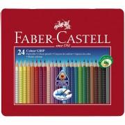 Creioane colorate 24 culori, cutie metalica, Grip 2001 Faber-Castell