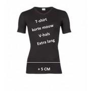 T-shirt V hals beeren zwart extra lang