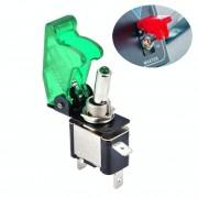 Flip cover Nitrous Arming schakelaar met groene LED indicator (voertuig DIY) groen