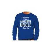 Bellatio Decorations Awesome Uncle / oom cadeau sweater blauw heren