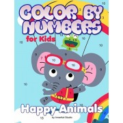 Color by Numbers for Kids: Happy Animals: Coloring for Ages 3 to 8 Large Size Jumbo Coloring Book with Animals - A Fun Way to Learn Colors. Color, Paperback/Inneract Studio