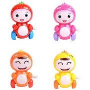 Emob Cute Pack of 4 Friction Powered Fruits key Wind Up Chain Toy (Multicolor)