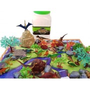 Planet 9 Toys Dinosaur Play Set - 48 Piece Playset Of Realistic Figures In A Bucket Including Dinosaurs, Trees, Rocks & Fold Up Playmat. Great Fun Adventure For Boys Girls By