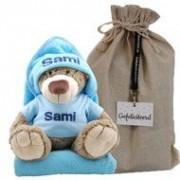 Samengestelde merken Knuffel bella met badcape babyblauw en naam
