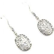 Earrings Designer Floral Handmade 925 Sterling Silver Flower Design Hook Earring