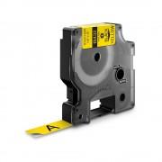 Etichete industriale autocolante DYMO ID1 vinil 12mm x 5.5m negru galben 18432