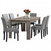 PremiumXL - [en.casa] Blagovaonski stol - rustični hrast - 160x90 cm - sa 6 tapeciranih stolica - svijetlo siva -