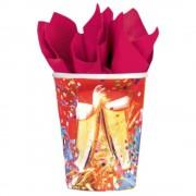 Pahare carton pentru petrecere revelion 250ml, amscan rm551427, set 8 buc