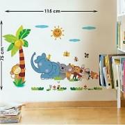 Walltola PVC Multicolor Jungle Cartoon Cute Animals Wall Sticker (28X10 Inch) (No of Pieces 1)