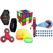 Digitally Yours Combo of 6- Ben 10 Projector Watch, Fidget Spinner, 3x3x3 Puzzle Cube, Plastic Playing Spring, 7 Light Wrist Band & Black Digital Led Band Watch for Kids