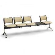 Kovo Praktik RAUMAN Čalouněné lavice SMART, 4-sedák + stolek, chromované nohy oranžová