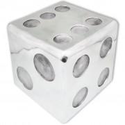 vidaXL Scaun/Masă laterală în formă de zar, aluminiu, argintiu