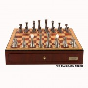 Contemporary Pewter Chess Set with Drawers by Dal Rossi Italy