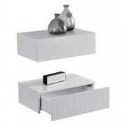 [en.casa]® Zidni noćni ormarić - Set od 2 komada - lakirano bijelo visoka sjaja - 46x30x15cm