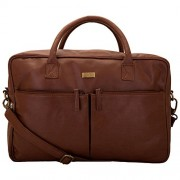 Yelloe Spacious Laptop Bag With Two Front Pockets,Tan