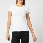 Love Moschino Women's Diamonte Logo T-Shirt - Optical White - IT 44/UK 12 - White
