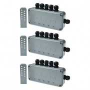 SuperInk 3 Set 15A 5-Gang Junction Box Weatherproof Outdoor Switched with 5 x Push Switches w/indicators and 6 x 20mm Cable Gland and Remote Power Switch IP66 Rated (3PK Box, 3PK Remote Control)