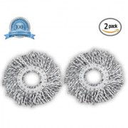 Smile Mom Spin Mop Head Microfiber Refill for Floor Cleaning White Grey (130 Gram Pack of 2)