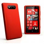 Nokia Lumia 820 Силиконов Калъф Червен + Протектор