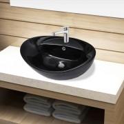 vidaXL Fürdőszoba ovális kerámia mosdó Csaptelep és túlfolyó lukkal fekete