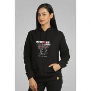 Campus Sutra Women's Black Hooded Sweatshirt (Design 20)