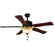 LBA Home Ceiling Fan 120 Cm, With A Powerful Light, Black /bronze Antique And Cherry Texture Blades