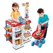 Babytintin Supermarket Play Set with Toy Cart, Cash Register, Checkout Counter, Working Scanner, Food (Multicolour)