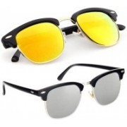 arko Clubmaster Sunglasses(Silver, Yellow, Orange)